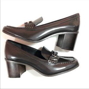 New Lauren Ralph Lauren Gray Penny Loafer Heel 10